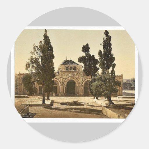 La mezquita de EL-Aksa, Jerusalén, magnif de la Pegatinas Redondas