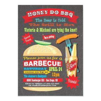 La miel de la hamburguesa de la pizarra hace la invitación 12,7 x 17,8 cm