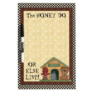 La miel enumera al tablero seco del borrado tablero blanco