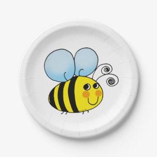 la miel linda manosea la abeja plato de papel de 7 pulgadas