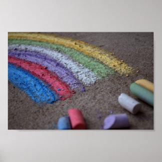 La mina de oro en el extremo del arco iris, tiza poster