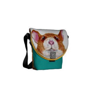 la mini bolsa de mensajero cero de la rata preocup bolsa messenger