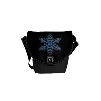 La mini bolsa de mensajero del copo de nieve azul bolsa de mensajería