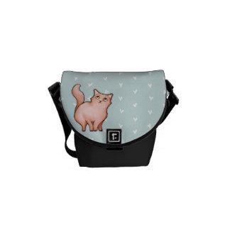 La mini bolsa de mensajero del gato de los corazon bolsa messenger