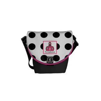 La mini bolsa de mensajero del profesor rosado y n bolsas de mensajería