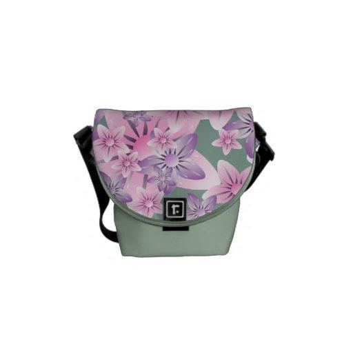 La mini bolsa de mensajero floral verde púrpura ro bolsa de mensajeria