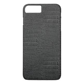 La mirada de la piel realista negra del cocodrilo funda iPhone 7 plus
