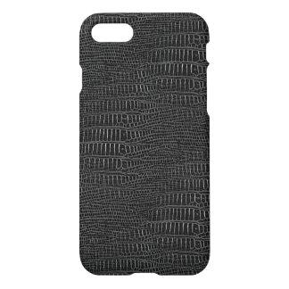 La mirada de la piel realista negra del cocodrilo funda para iPhone 7