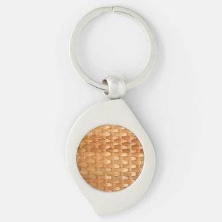 La mirada de la textura de mimbre de Basketweave Llavero Plateado En Forma De Espiral