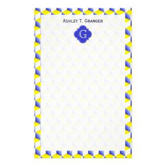 La mirada de Lt Blue Yellow White 3D cubica el Papeleria De Diseño