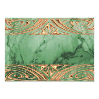 """La mirada de mármol verde elegante del metal invitación 5"""" x 7"""""""