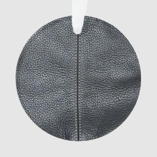 La mirada del grano de cuero negro cosido suavidad