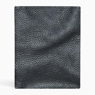 La mirada del grano de cuero negro cosido suavidad mini carpeta