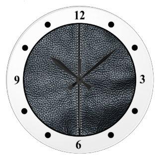 La mirada del grano de cuero negro cosido suavidad reloj redondo grande