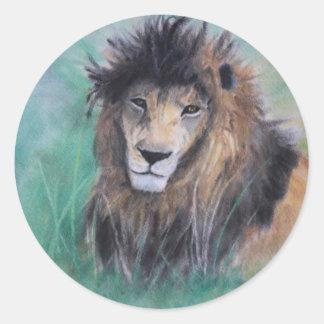 La mirada del león pegatina redonda