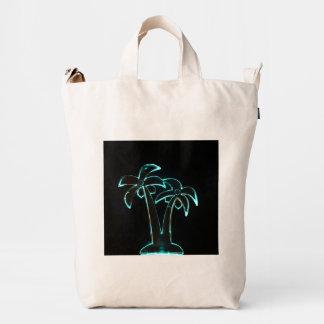 La mirada del Lit de neón encima de las palmeras Bolsa De Lona Duck