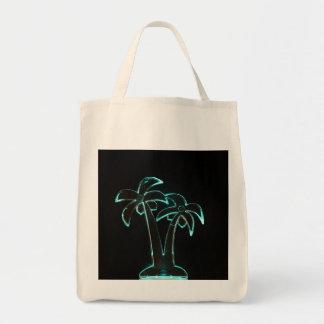La mirada del Lit de neón encima de las palmeras Bolsa Tela Para La Compra