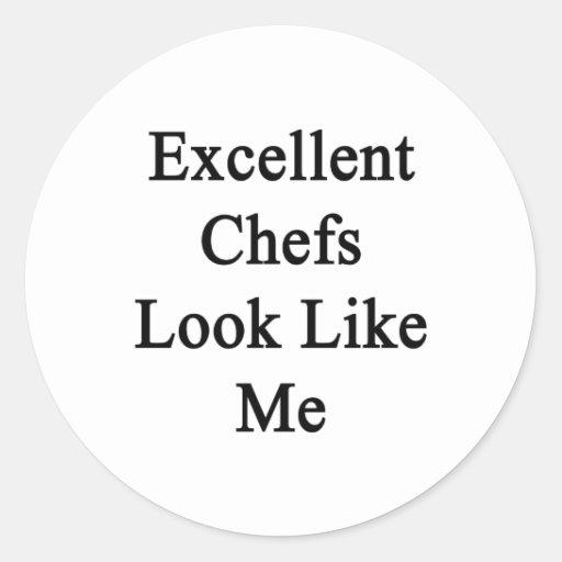 La mirada excelente de los cocineros tiene gusto pegatina redonda