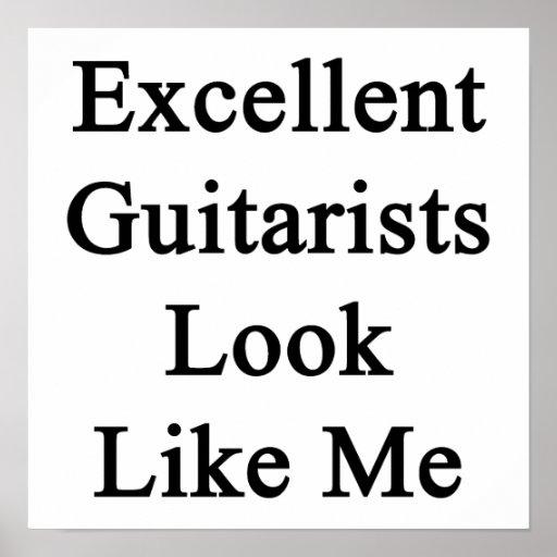 La mirada excelente de los guitarristas tiene gust poster