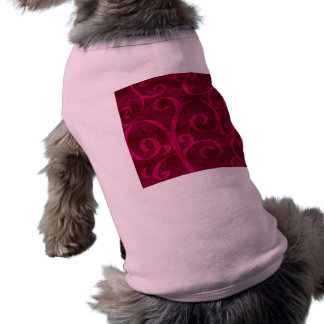 La mirada grabada en relieve terciopelo rosado playera sin mangas para perro