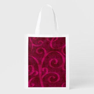 La mirada grabada en relieve terciopelo rosado bolsas de la compra