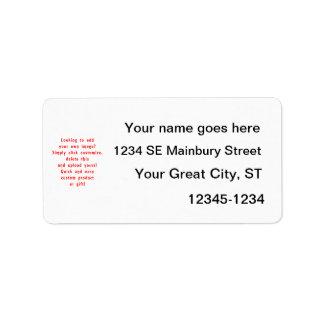 la mirada para añadir los propios diseña para el p etiqueta de dirección