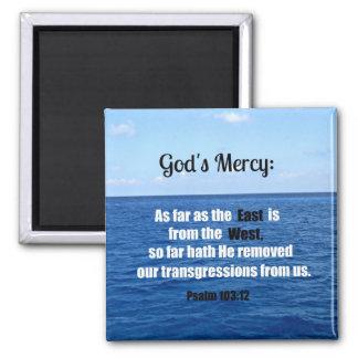 La misericordia de dios: 103:12 del salmo imán cuadrado