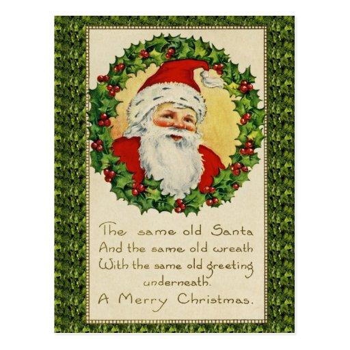 La misma postal vieja del navidad de la antigüedad