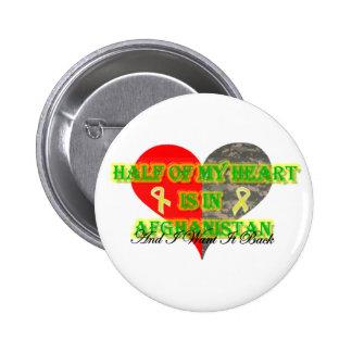 La mitad de mi corazón está en Afganistán Pin Redondo 5 Cm