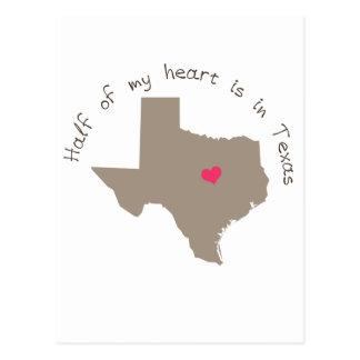 La mitad de mi corazón está en Tejas Tarjetas Postales
