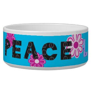 La MOD retra del tejido del amor de la paz florece Tazones Para Perro
