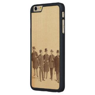 La moda Brown de los caballeros de los hombres del Funda De Arce Carved® Para iPhone 6 Plus Slim