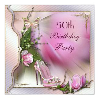 """La moda calza cumpleaños de la mariposa de la invitación 5.25"""" x 5.25"""""""