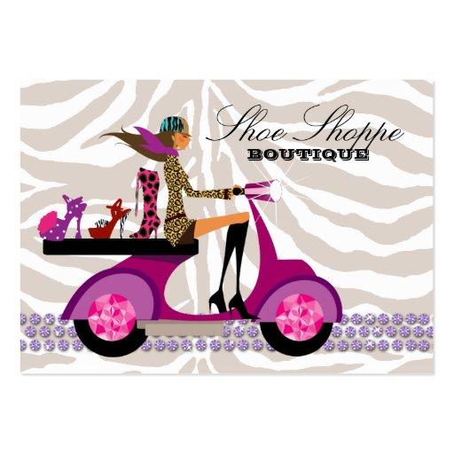 La moda calza el oro de la púrpura de la cebra de tarjetas de visita grandes