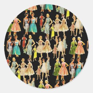 La moda de la vintage mujer pegatina redonda