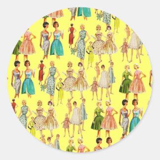 La moda de la vintage mujer etiqueta redonda