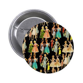 La moda de la vintage mujer pin redondo de 2 pulgadas
