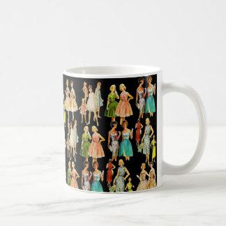 La moda de la vintage mujer taza básica blanca