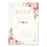 """La moda elegante florece el marco RSVP del oro Invitación 3.5"""" X 5"""""""