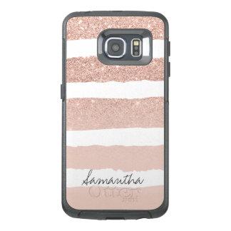 La moda se ruboriza las falsas rayas color de rosa funda OtterBox para samsung galaxy s6 edge
