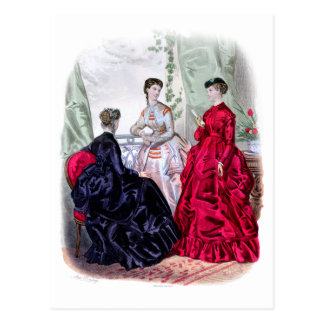 La Mode Illustree Aubergine and Ruby Gowns Postcard