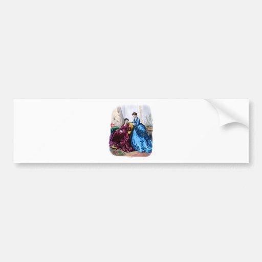 La Mode Illustree Blue and Raspberry Gowns Bumper Sticker