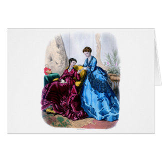 La Mode Illustree Blue and Raspberry Gowns Greeting Card