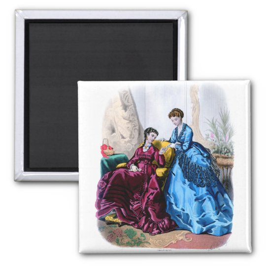 La Mode Illustree Blue and Raspberry Gowns Magnet