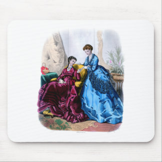 La Mode Illustree Blue and Raspberry Gowns Mouse Pad