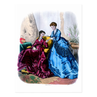 La Mode Illustree Blue and Raspberry Gowns Postcard