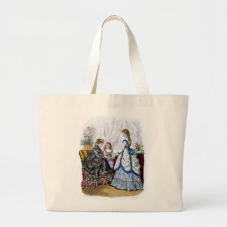 La Mode Illustree Blue & White & Red & Green Gowns Large Tote Bag