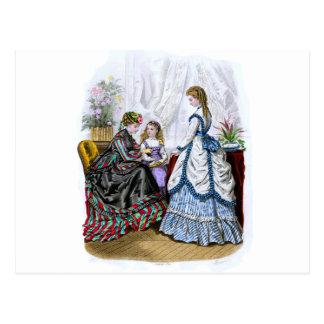 La Mode Illustree Blue & White & Red & Green Gowns Postcard