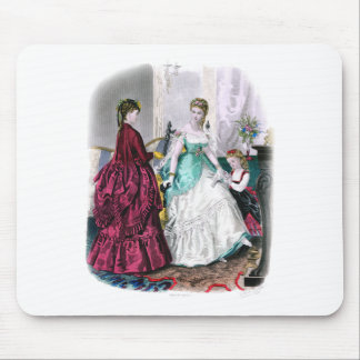 La Mode Illustree Burgundy and Seafoam Gowns Mouse Pad