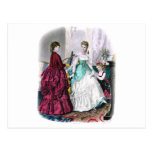 La Mode Illustree Burgundy and Seafoam Gowns Postcard